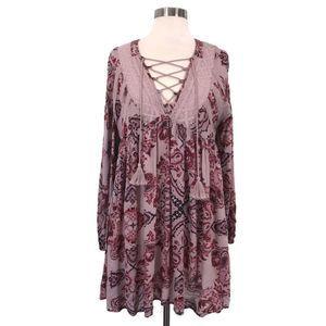 ALTAR'D STATE Boho Pink Paisley Lace Up Mini Dress